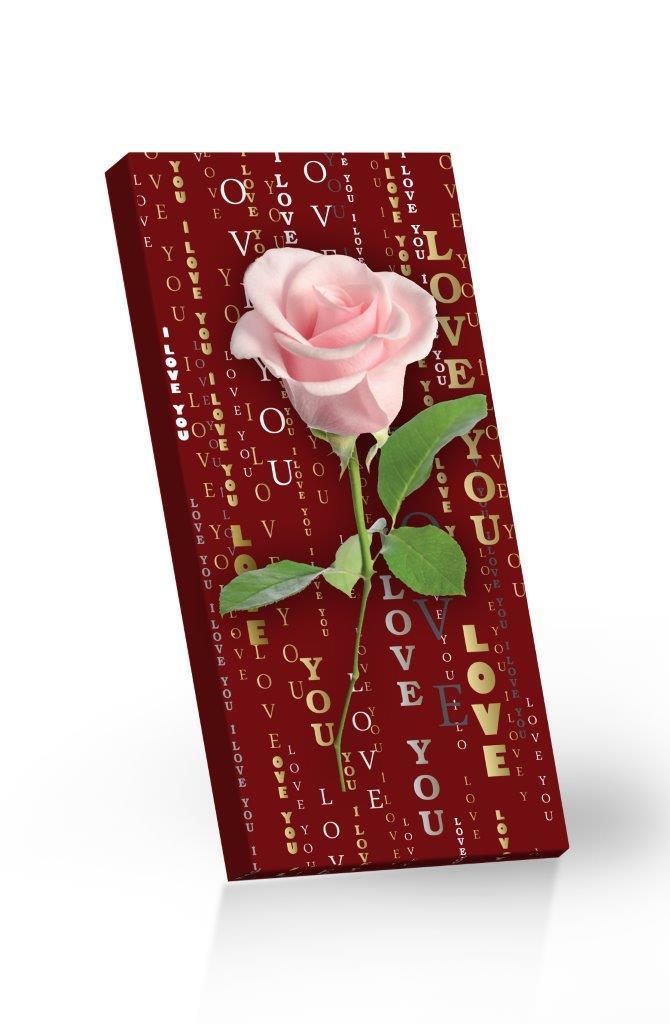 Čokoláda mléčná LOVE YOU - růžová Růže 100g