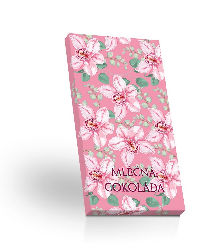 Mléčná čokoláda 50g - Růžová orchidej