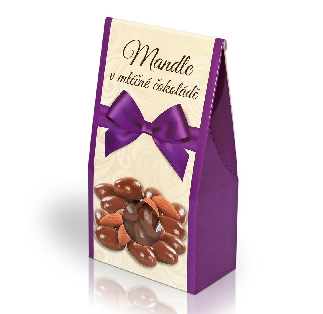 Mandle v mléčné čokoládě 150g (stříška)