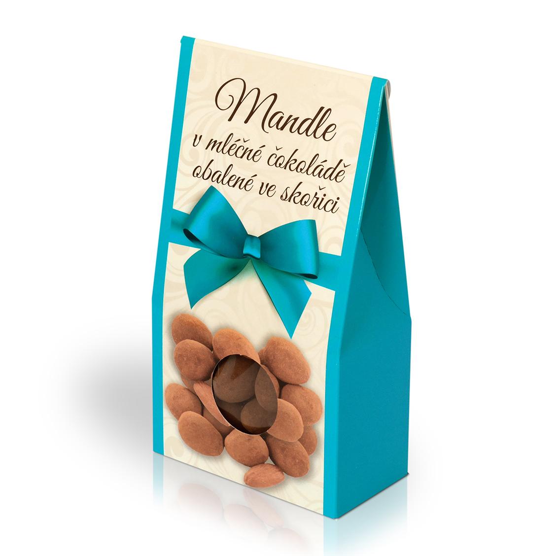 Mandle v mléčné čokoládě obalené ve skořici 150g (stříška)