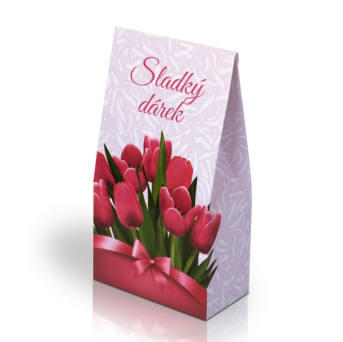 Italské pralinky - Sladký dárek s tulipány 100g (stříška)