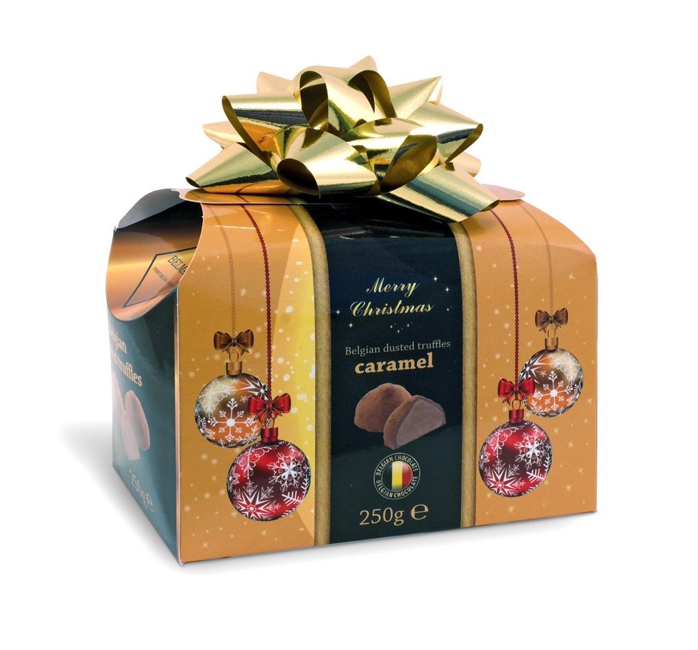 Belgické čokoládové lanýže s náplní karamel se zlatou mašlí - Vánoce 250g