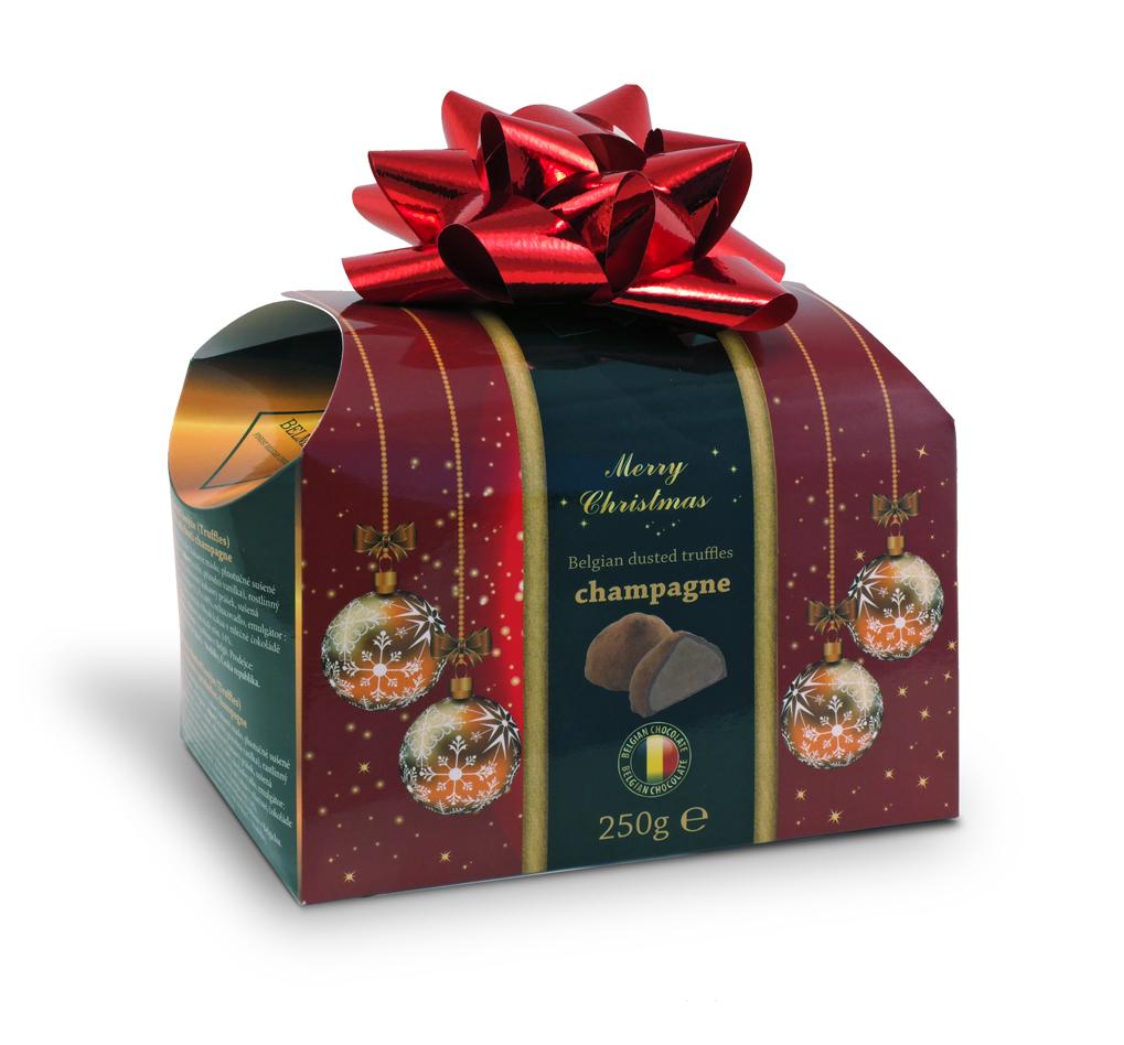 Belgické čokoládové lanýže s náplní champagne s červenou mašlí - Vánoce 250g
