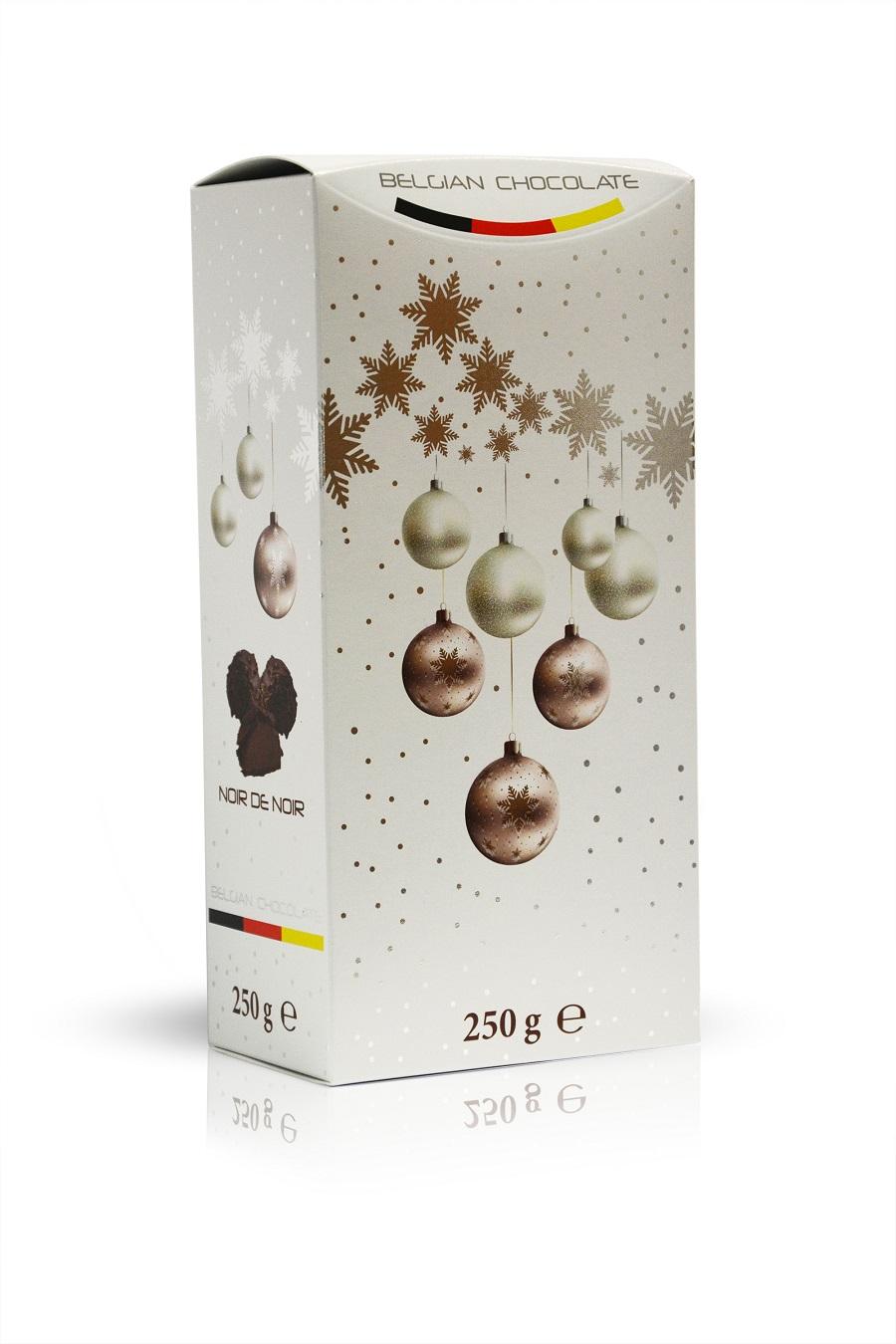 Belmaria - mléčné čokoládové lanýže s vločkami z hořké čokolády s kakaovou náplní a kousky kakaových bobů - Bílé Vánoce 250g