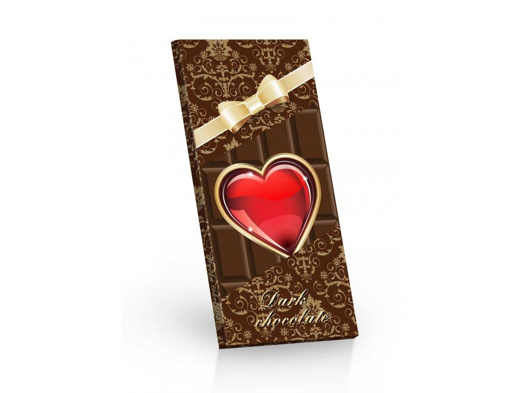 Čokoláda hořká 85%  Srdíčko s mašlí 100g