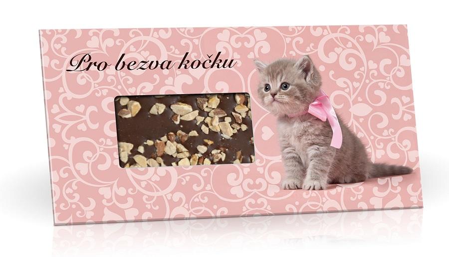 Mléčná čokoláda s posypem mandlemi - Pro bezva kočku 96g